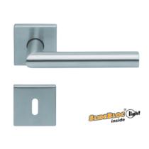 Scoop Thema 1106 SBL rozsdamentes acél négyzetrozettás kilincsgarnitúra SlideBloc Light mechanikával