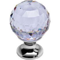 Linea Cali Crystal fényes króm bútor fogantyú ibolya színű kristállyal 20 mm ∅ 200 PB 0020