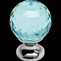 Linea Cali Crystal fényes króm bútor fogantyú antik zöld kristállyal 30 mm ∅ 200 PB 0030