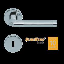 Scoop 1101 Duo SB polírozott inox körrozettás kilincsgarnitúra