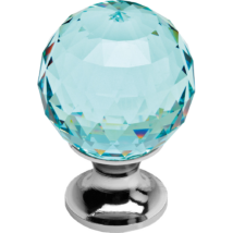 Linea Cali Crystal fényes króm bútor fogantyú antik zöld kristállyal 40 mm ∅ 200 PB 0040