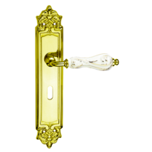 Fimet Flora arany-fehér hosszúcímes kilincsgarnitúra