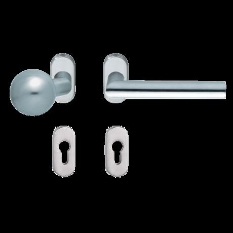 Maestro Thema Pro oválrozettás kilincsgarnitúra / eltolt gömb gomb-kilincs