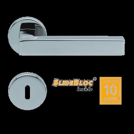Scoop 1002 polírozott inox kilincsgarnitúra SlideBloc mechanikával