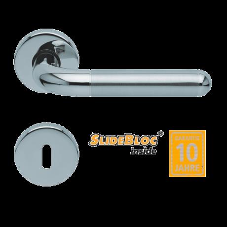Scoop 1173 polírozott inox kilincsgarnitúra SlideBloc mechanikával