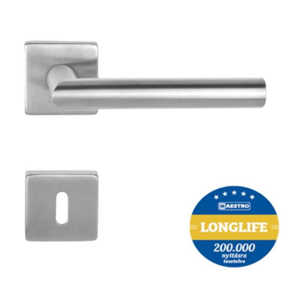 Maestro Thema DIN 3 longlife rozsdamentes acél négyzetrozettás kilincsgarnitúra